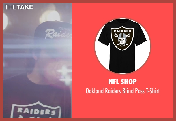 NFL Shop black t-shirt from Straight Outta Compton seen with O'Shea Jackson Jr. (Ice Cube)