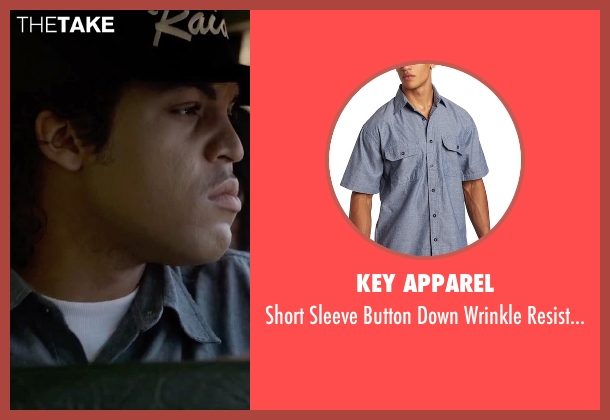 Key Apparel blue shirt from Straight Outta Compton seen with O'Shea Jackson Jr. (Ice Cube)