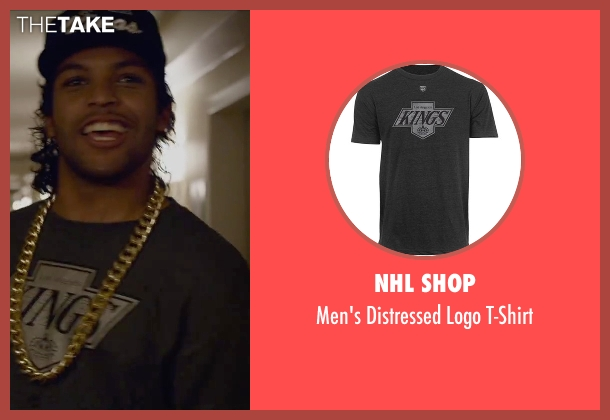 NHL Shop gray t-shirt from Straight Outta Compton seen with O'Shea Jackson Jr. (Ice Cube)