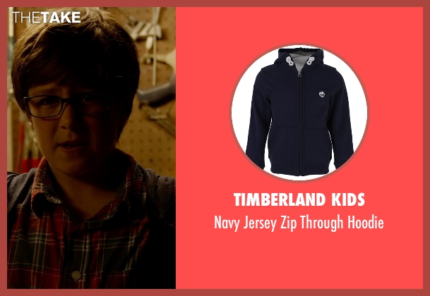 Timberland Kids blue hoodie from Fantastic Four seen with Owen Judge (Young Reed Richards)