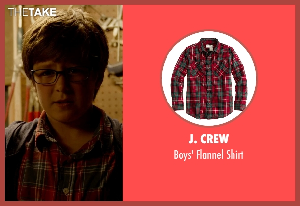 J. Crew red shirt from Fantastic Four seen with Owen Judge (Young Reed Richards)