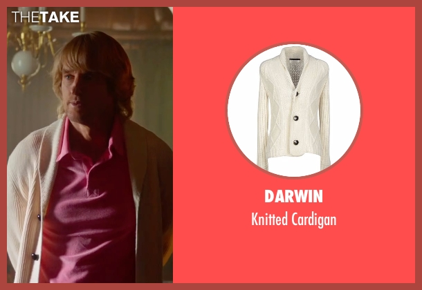 Darwin white cardigan from Bastards seen with Owen Wilson (Kyle Reynolds)