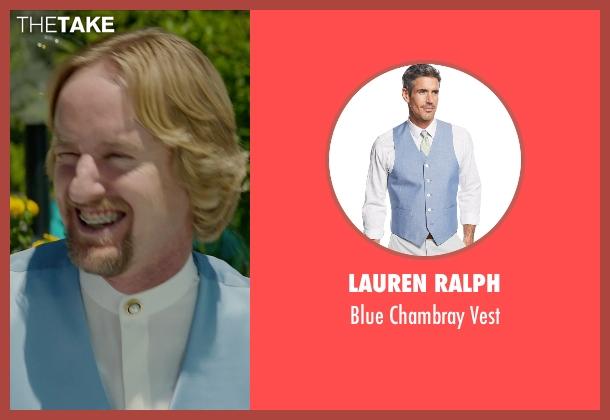 Lauren Ralph blue vest from Masterminds seen with Owen Wilson (Steve)
