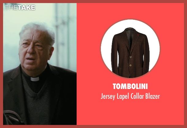 Tombolini brown blazer from The American seen with Paolo Bonacelli (Father Benedetto)