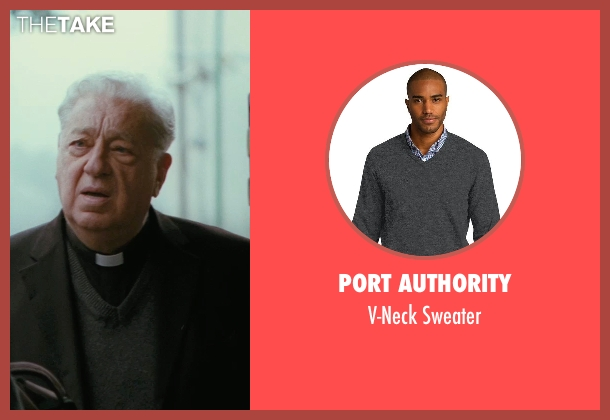 Port Authority gray sweater from The American seen with Paolo Bonacelli (Father Benedetto)