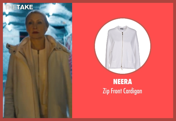 Neera white cardigan from Maze Runner: The Scorch Trials seen with Patricia Clarkson (Ava Paige)