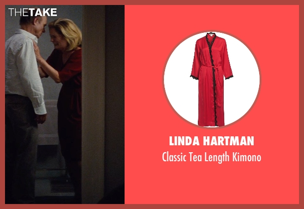 Linda Hartman red kimono from Run All Night seen with Patricia Kalember  (Shawn's Wife)