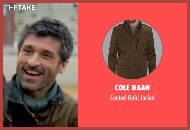 Cole Haan brown jacket from Bridget Jones's Baby seen with Patrick Dempsey (Jack Qwant)