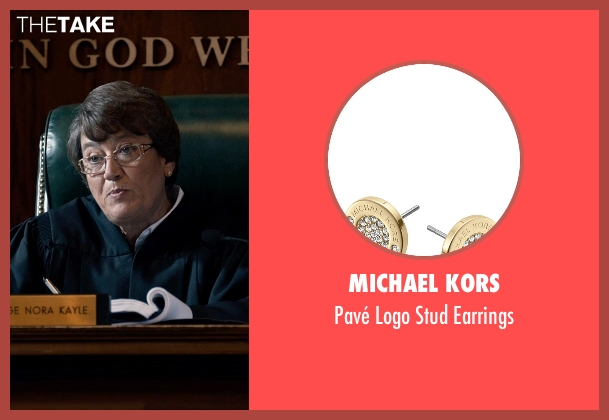 Michael Kors gold earrings from Southpaw seen with Patsy Meck (Judge Kayle)