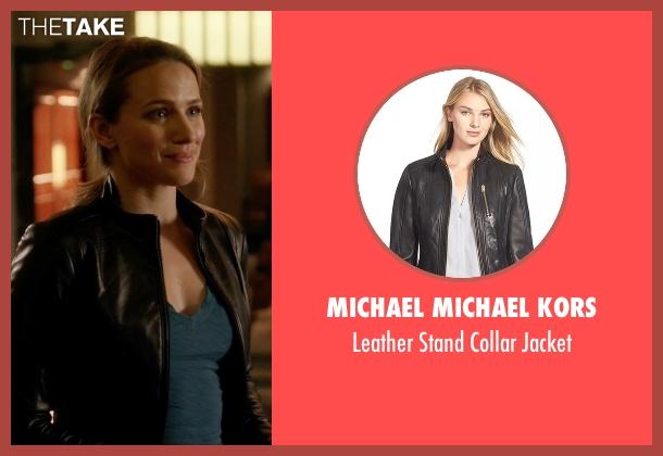 Michael Michael Kors black jacket from The Flash seen with Patty Spivot (Shantel VanSanten)