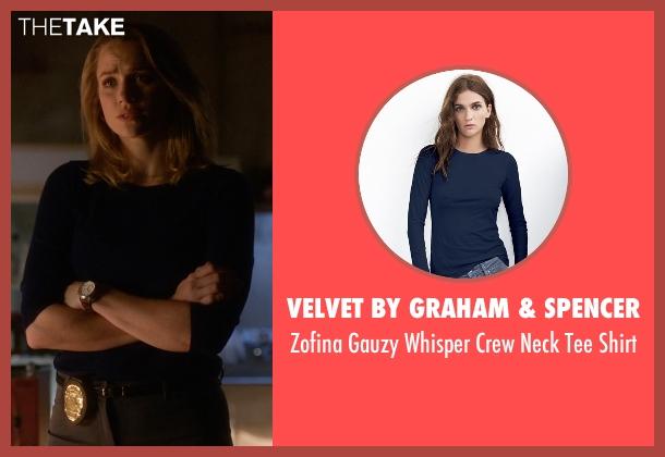 Velvet By Graham & Spencer blue shirt from The Flash seen with Patty Spivot (Shantel VanSanten)