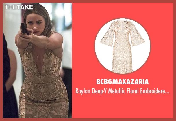 BCBGMAXAZARIA gold gown from The Flash seen with Patty Spivot (Shantel VanSanten)