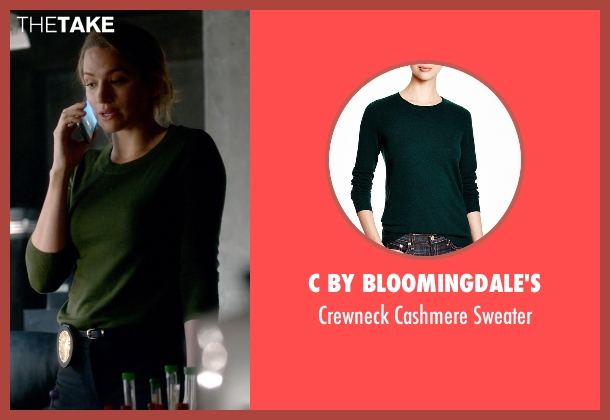 C By Bloomingdale's green sweater from The Flash seen with Patty Spivot (Shantel VanSanten)
