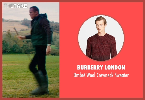 Burberry London red sweater from Mortdecai seen with Paul Bettany (Jock Strapp)
