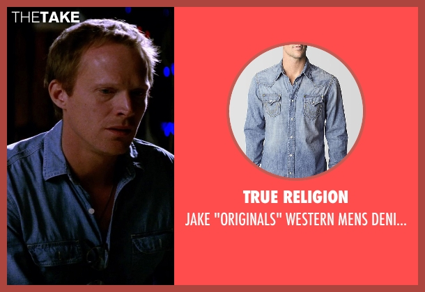 True Religion blue shirt from Transcendence seen with Paul Bettany (Max Waters)