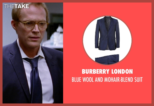 BURBERRY LONDON blue suit from Transcendence seen with Paul Bettany (Max Waters)