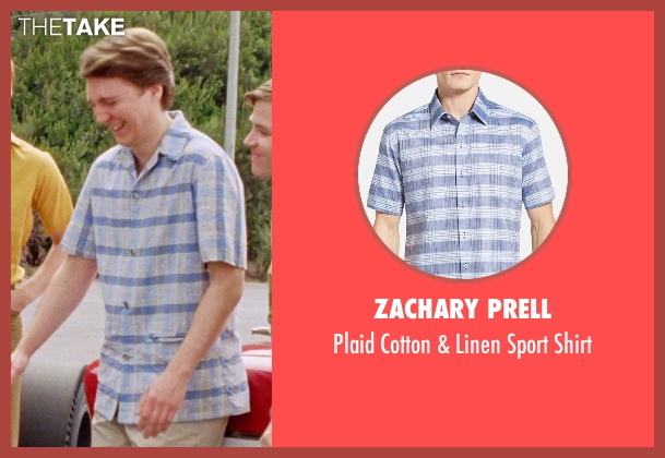 Zachary Prell blue shirt from Love & Mercy seen with Paul Dano (Brian Wilson)