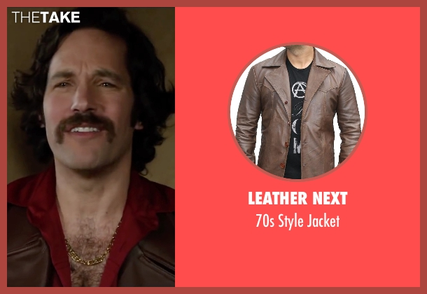 Leather Next brown jacket from Anchorman 2: The Legend Continues seen with Paul Rudd (Brian Fantana)