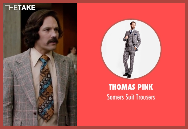 Thomas Pink gray trousers from Anchorman 2: The Legend Continues seen with Paul Rudd (Brian Fantana)