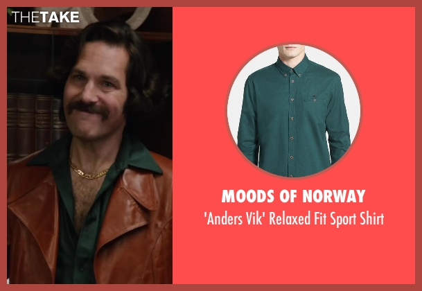 Moods of Norway green shirt from Anchorman 2: The Legend Continues seen with Paul Rudd (Brian Fantana)