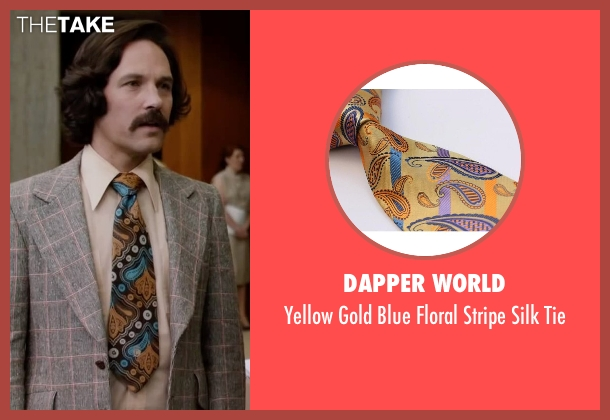 Dapper World yellow tie from Anchorman 2: The Legend Continues seen with Paul Rudd (Brian Fantana)