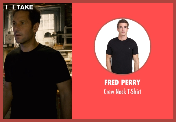 Fred Perry black t-shirt from Ant-Man seen with Paul Rudd (Scott Lang / Ant-Man)