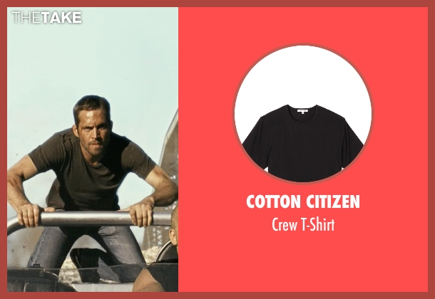 Cotton Citizen black t-shirt from Fast Five seen with Paul Walker (Brian O'Conner)