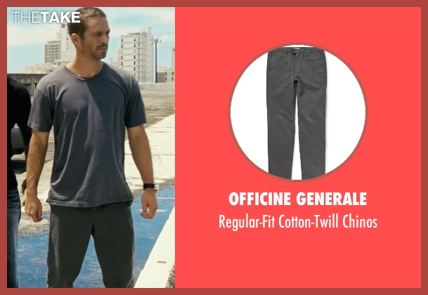 Officine Generale gray chinos from Fast Five seen with Paul Walker (Brian O'Conner)