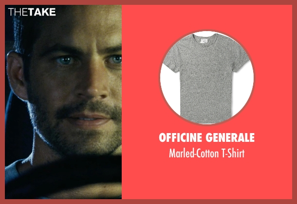 Officine Generale gray t-shirt from Fast Five seen with Paul Walker (Brian O'Conner)