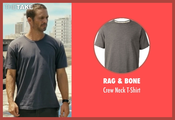 Rag & Bone gray t-shirt from Fast Five seen with Paul Walker (Brian O'Conner)