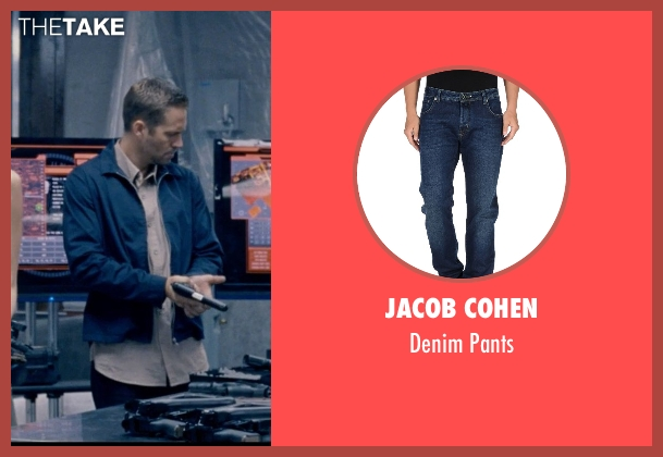 Jacob Cohen blue pants from Fast & Furious 6 seen with Paul Walker (Brian O'Conner)