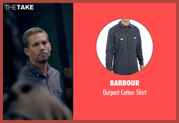 Barbour blue shirt from Fast & Furious 6 seen with Paul Walker (Brian O'Conner)
