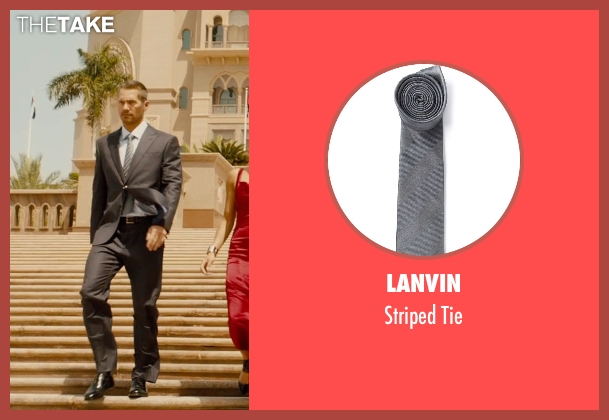 Lanvin gray tie from Furious 7 seen with Paul Walker (Brian O'Conner)