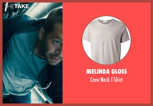 Melinda Gloss gray t-shirt from Furious 7 seen with Paul Walker (Brian O'Conner)