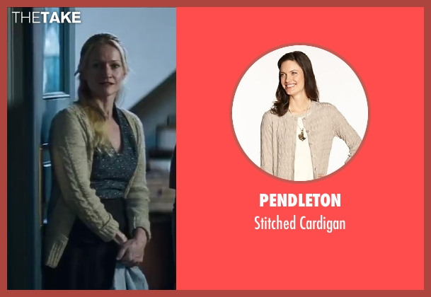 Pendleton beige cardigan from The Hunger Games: Catching Fire seen with Paula Malcomson (Katniss' Mother)
