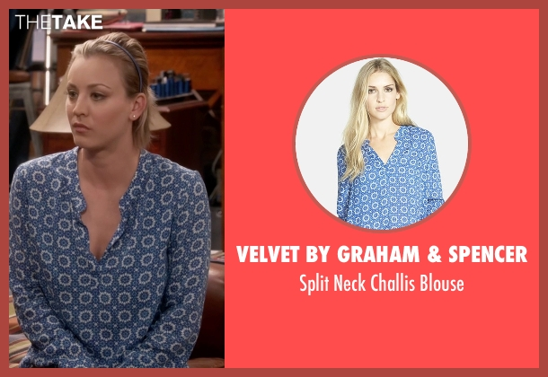 Velvet by Graham & Spencer blue blouse from The Big Bang Theory seen with Penny (Kaley Cuoco-Sweeting)