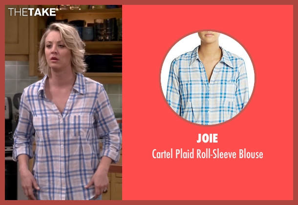 Joie blue blouse from The Big Bang Theory seen with Penny (Kaley Cuoco-Sweeting)