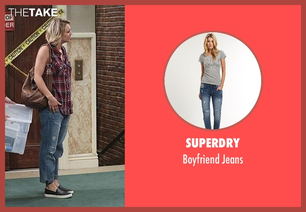 Superdry blue jeans from The Big Bang Theory seen with Penny (Kaley Cuoco-Sweeting)