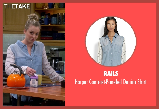 Rails blue shirt from The Big Bang Theory seen with Penny (Kaley Cuoco-Sweeting)