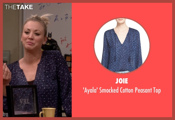 Joie blue top from The Big Bang Theory seen with Penny (Kaley Cuoco-Sweeting)
