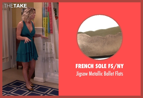 French Sole FS/NY gold flats from The Big Bang Theory seen with Penny (Kaley Cuoco-Sweeting)