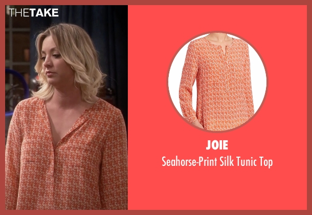 Joie orange top from The Big Bang Theory seen with Penny (Kaley Cuoco-Sweeting)