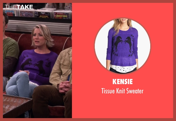Kensie purple sweater from The Big Bang Theory seen with Penny (Kaley Cuoco-Sweeting)