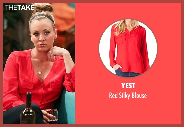Yest red blouse from The Big Bang Theory seen with Penny (Kaley Cuoco-Sweeting)