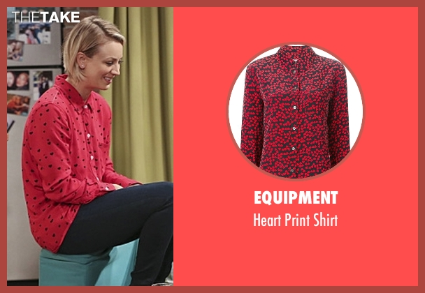 Equipment red shirt from The Big Bang Theory seen with Penny (Kaley Cuoco-Sweeting)