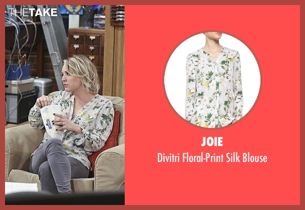 Joie white blouse from The Big Bang Theory seen with Penny (Kaley Cuoco-Sweeting)