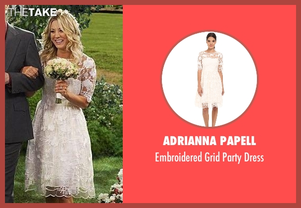 Adrianna Papell white dress from The Big Bang Theory seen with Penny (Kaley Cuoco-Sweeting)