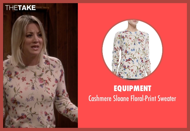 Equipment white sweater from The Big Bang Theory seen with Penny (Kaley Cuoco-Sweeting)
