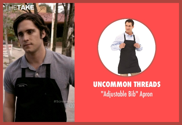 Uncommon Threads apron from Scream Queens seen with Pete Martinez (Diego Boneta)
