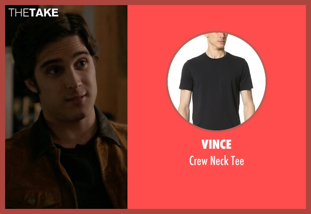 Vince black tee from Scream Queens seen with Pete Martinez (Diego Boneta)